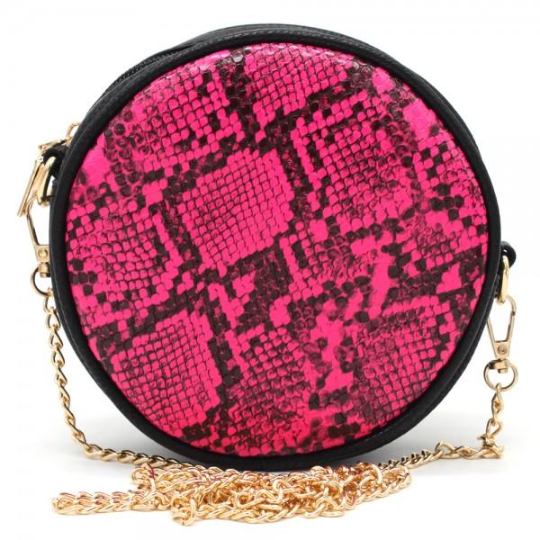 6b9db0b966f T-B3.1 BAG322-001 Combination Bum-Shoulder Bag Snake incl Belt 14x14x6cm  Pink