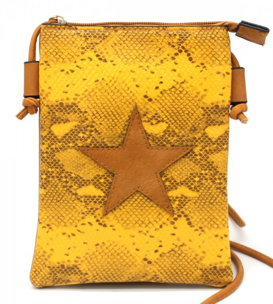 890a0a4d937 T-O7.1 BAG326-001 PU Festival Crossbody Bag Snake with Star 20x15cm Yellow