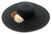 Y-E2.4 HAT504-033A Summer Hat with Flowers Black