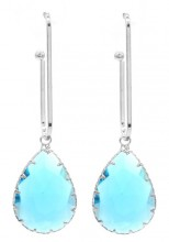 C-A1.2 E1631-021 Earrings with Stone 6x2cm Silver-Blue