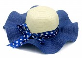 Y-C4.4 HAT210-028D Hat with Bow 41cm for Kids Blue