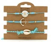 C-C3.1 B221-004 Bracelet Set 3pcs Anchor-Turtle-Shell Blue