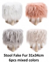 ST002-001 Stool with Fake Fur 31x34cm Mixed Colors 6pcs