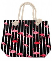 Y-A2.2 BAG217-002 Striped Beach Bag with Flamingos 43x34cm Black