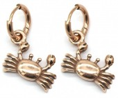 A-C19.5 E007-012RG S. Steel 10mm Earring with 16mm Crab Rose Gold