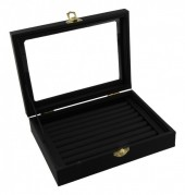 Y-F5.1 Display Box for Rings with Glass Top 20x15x5.5cm Black Velvet