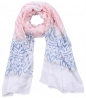 S-K5.1 S312-002 Scarf with Baroque Print 85x180cm Pink-Blue