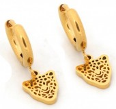 A-D2.3 E1842-010 Stainless Steel Earrings Leopard Gold 10mm with 10mm Charm