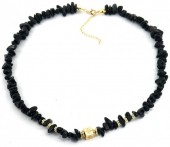 D-F6.1 N2019-021G Necklace Black Onyx Stones Gold