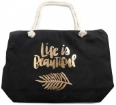 Y-C5.5 BAG530-005A Large Beach Bag Life is Beautiful Black