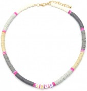 F-F2.1 N536-103D Necklace LOVE 42-48cm Brown-Grey