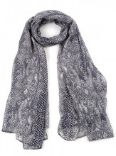 S-H2.2 S313-001 Scarf with Snake Print 90x180cm Grey-Brown
