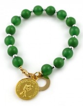 F-A4.5 B565-952 Beaded Bracelet with Coin Queen Elizabeth Green-Gold
