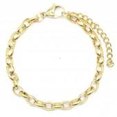 D-B23.2  B2043-012AG S. Steel Bracelet 5mm Chain Gold