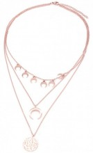 A-C10.5  N003-002 Stainless Steel Necklace 3 layers Moons and Coin Rose Gold
