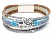 D-A8.2  B104-003 Leather Bracelet with Tree of Life Blue