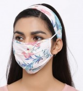 R-J7.1 Set Face Mask with Headband - Washable - Flower- Pink