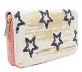 R-C6.2 WA117-006 Wallet with Sequins and Stars 19x10cm Pink