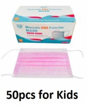 Face Masks 3 Layers 50pcs with CE - For Kids - Pink