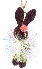 S-F6.4 KY2035-001F Keychain Glitter Bunny 15cm Purple