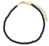 A-B4.3  B2061-001G Bracelet with Glass Beads Black