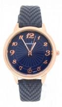WA023-001 Quartz Watch with PU Strap Rose Gold-Blue