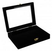 Z-F1.1  Display Box Flat Bottom with Glass Top 20x15x5.5cm Black Velvet