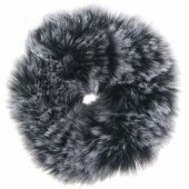 S-A2.2 H414-004A Fluffy Scrunchie Grey Spotted