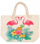 Y-D6.4 BAG213-002 Beach Bag with Flamingos-Leaves and Pineapple Beige