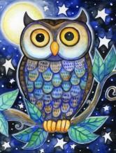 X-D1.2 Q135 Diamond Painting Set Owl 30x20cm