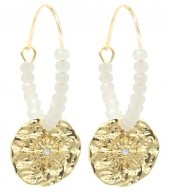 B-B6.3 EN2019-025G Earrings Glassbeads and Coin 2.5x4cm Gold