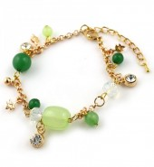C-B4.1 B565-958 Metal Bracelet with Beads Green-Gold
