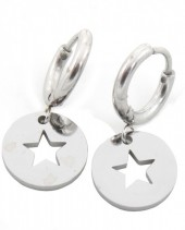 A-D4.3 E410-001 Stainless Steel Earrings Star Silver 10mm with 10mm Charm
