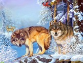 Q-C4.1 KTL2124 Diamond Painting Set Wolves Round Stones 40x30cm