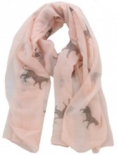 X-E2.2  S205-001 Scarf with Leopards and Glitters 70x180cm Pink
