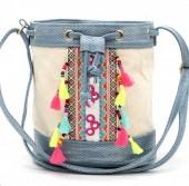 Y-C1.2  BAG216-002 Ibiza Style Bag with Tassels Blue