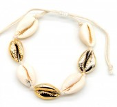 B302-003 Bracelet with Shells and Plated Shells Gold