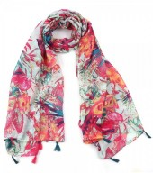 S-J7.1 S313-008 Jungle Scarf with Tassels 90x180cm Blue-Pink