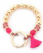 B-E15.3 B130-001 Elastic Bracelet With Circle and Tassel Gold-Pink