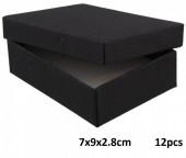 Z-E3.2 Gift box for Necklace-Ring-Earrings 7x9x2.8cm Black 12pcs