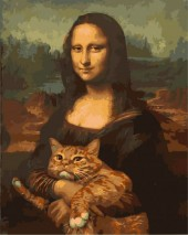 Y-A4.2  MS7760 Paint By Number Set Cat-Mona Lisa 50x40cm