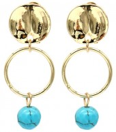B-B17.3 E2019-038G Earrings Turqoise 1.5x3.5cm Gold