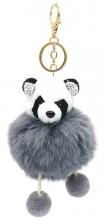 S-F8.2  KY2035-017B Keychain Fluffy Panda with Crystals 12x6cm Grey