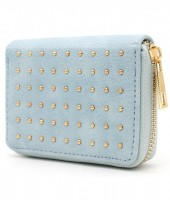 WA214-004 Small PU Wallet with Golden Studs Blue