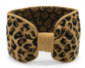 T-E7.2 H401-004B Knitted Headband with Animal Print Brown