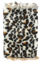 T-N5.2  BAG005-001 Pouch with Chain and Animal Print 21x14cm Brown-White