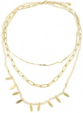 C-A4.2 N1561-201G S.Steel Necklace Layered with Glass Stones Gold