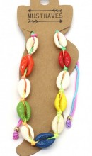 F-E23.1 ANK2001-003A Anklet Shells Multi Color