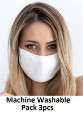 Fabric Mask 2 Layers - Machine Washable - White - Pack 3pcs