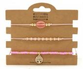 C-D16.1 B221-005 Bracelet Set 3pcs Tree of Life Pink